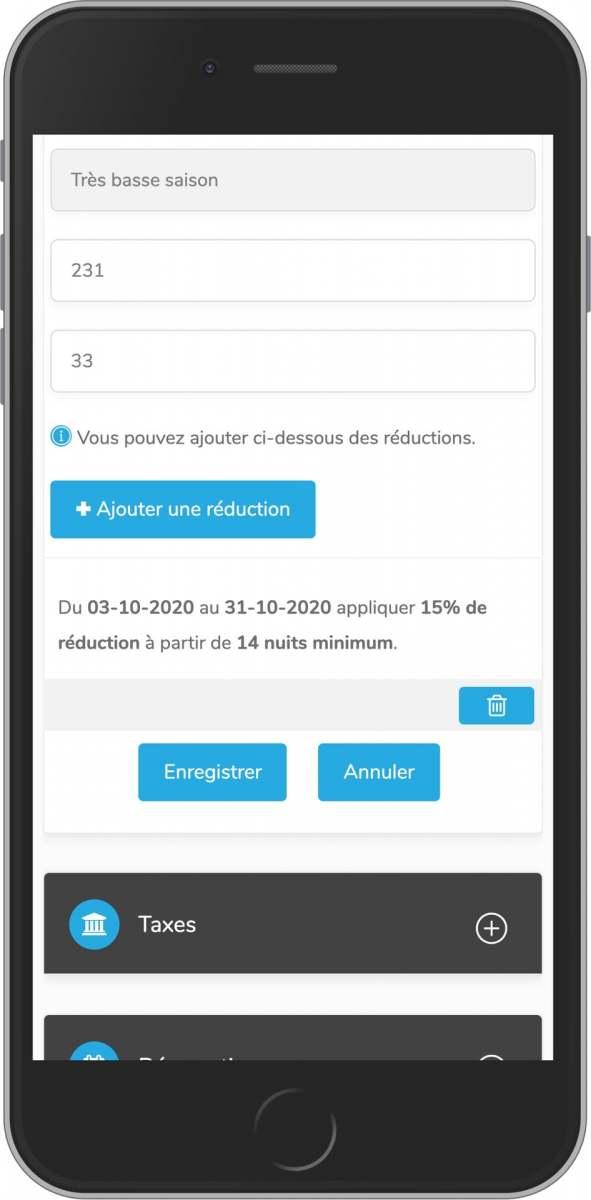 application mobile de gestion de vos tarifs de location saisonnière et réduction courte durée