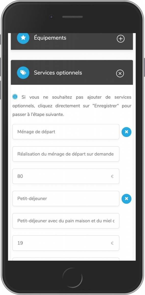 application mobile gratuite ajout de service optionnel à votre loc saisonnière upsell
