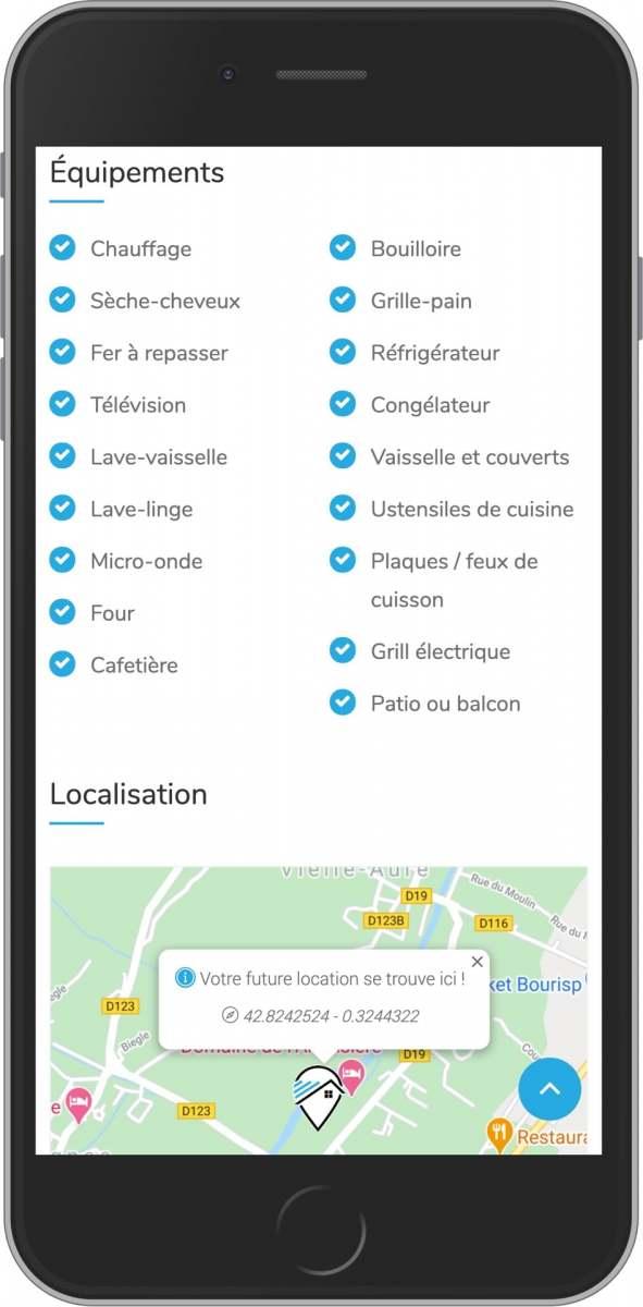 application mobile gratuite équipement et localisation de votre location saisonnière