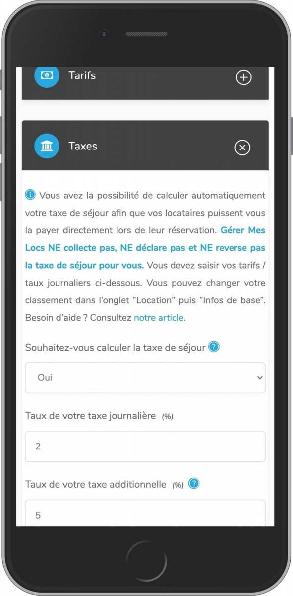 application mobile de gestion taxe de séjour location saisonnière avec gererMesLocs