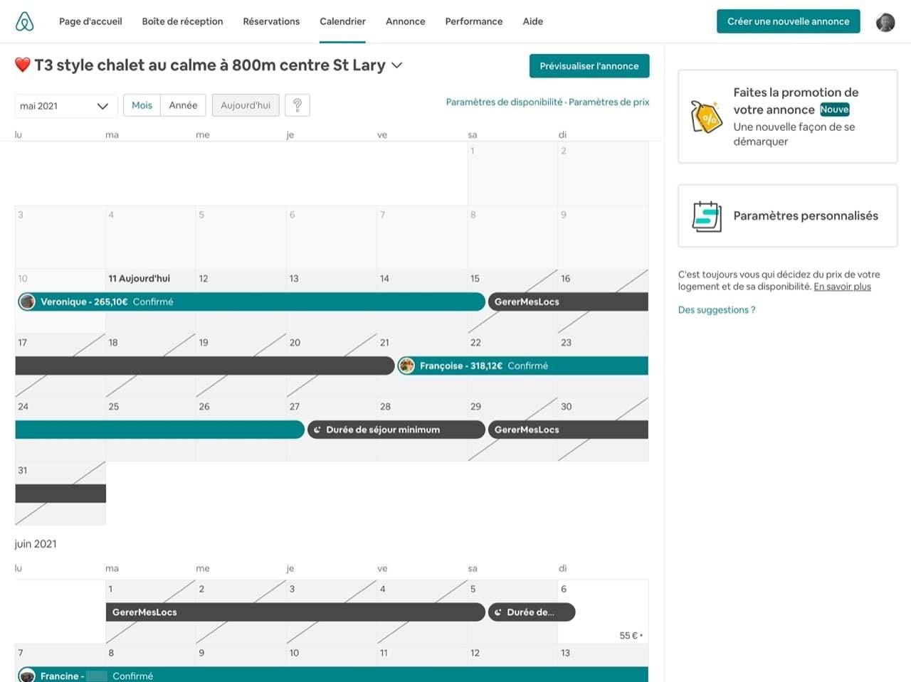 Affichage calendrier synchronisé ical gerermeslocs airbnb