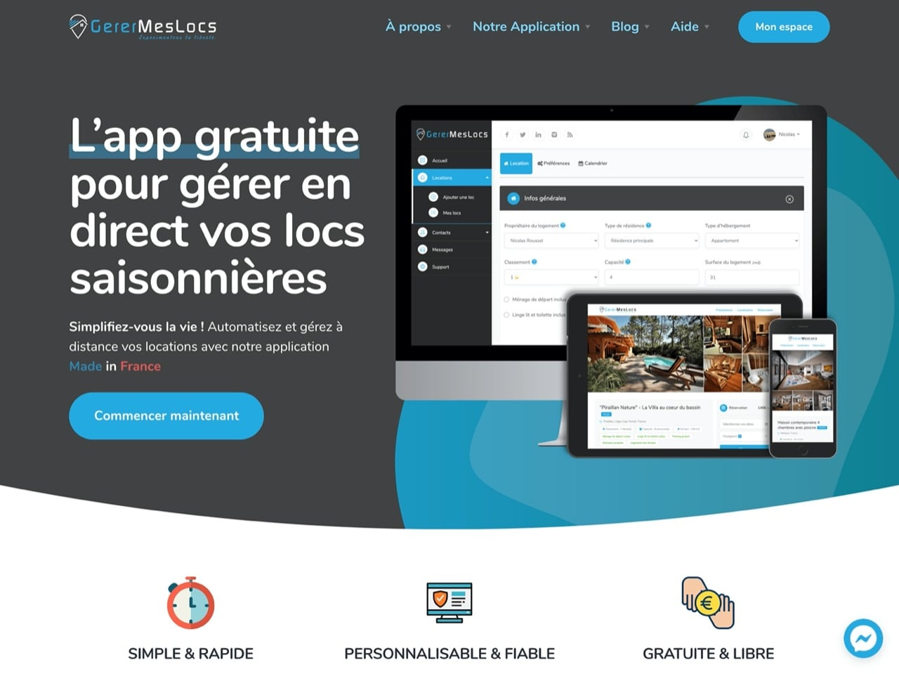 Site internet de l'application www.gerermeslocs.fr